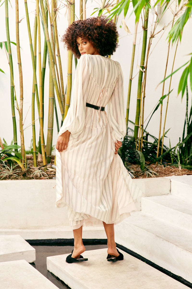 cream pin stripe chiffon vintage inspired maxi layered tiered dress