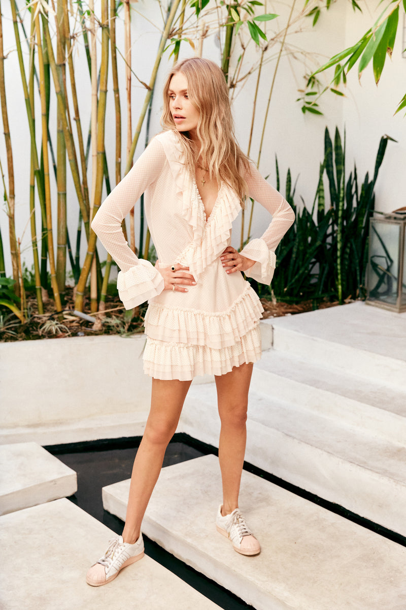 Cream chiffon vintage inspired ruffle mini dress long sleeve v neck
