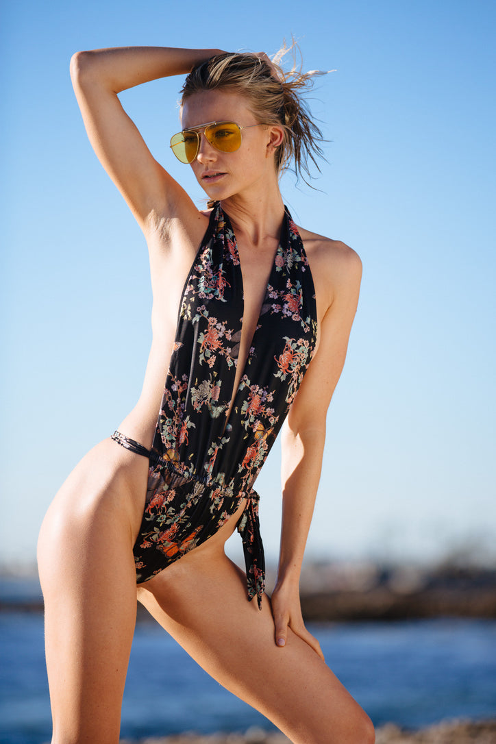 black floral halter 1 piece Brazilian minimal coverage adjustable eco-friendly & sustainable fabric