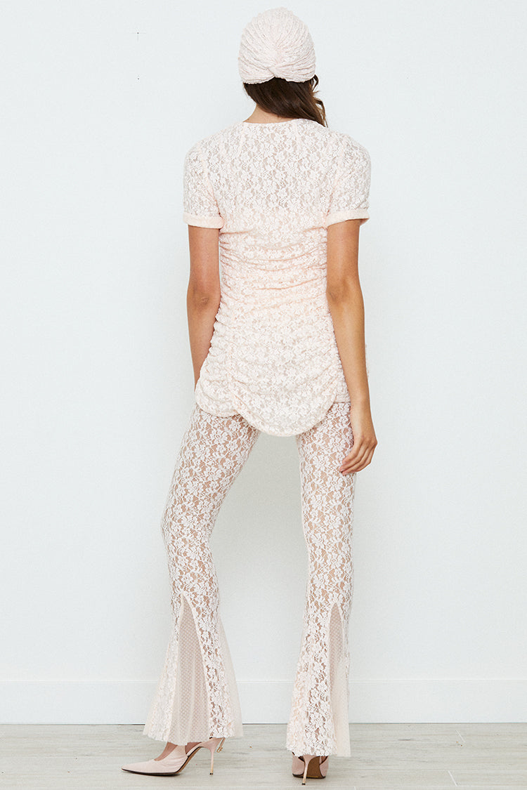 light pink chiffon bodysuit blouse with lace underlay machine washable