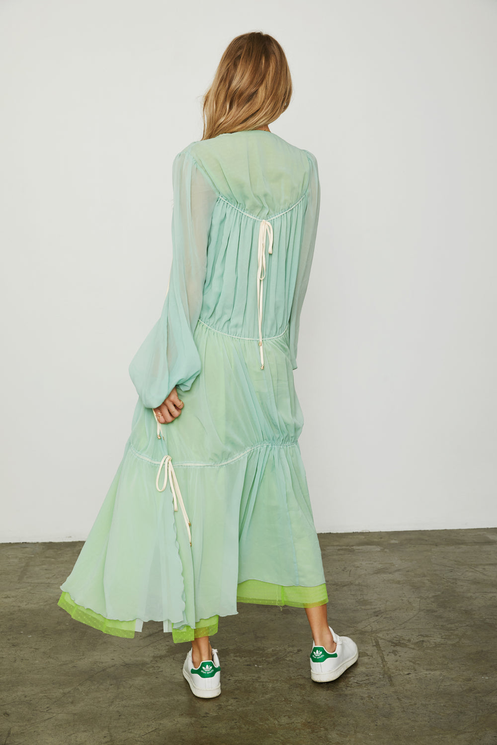 green chiffon vintage inspired maxi layered tiered dress