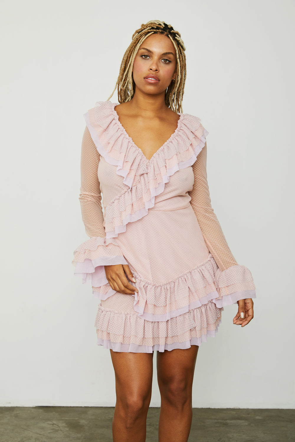 pink purple vintage inspired ruffle mini dress long sleeve v neck