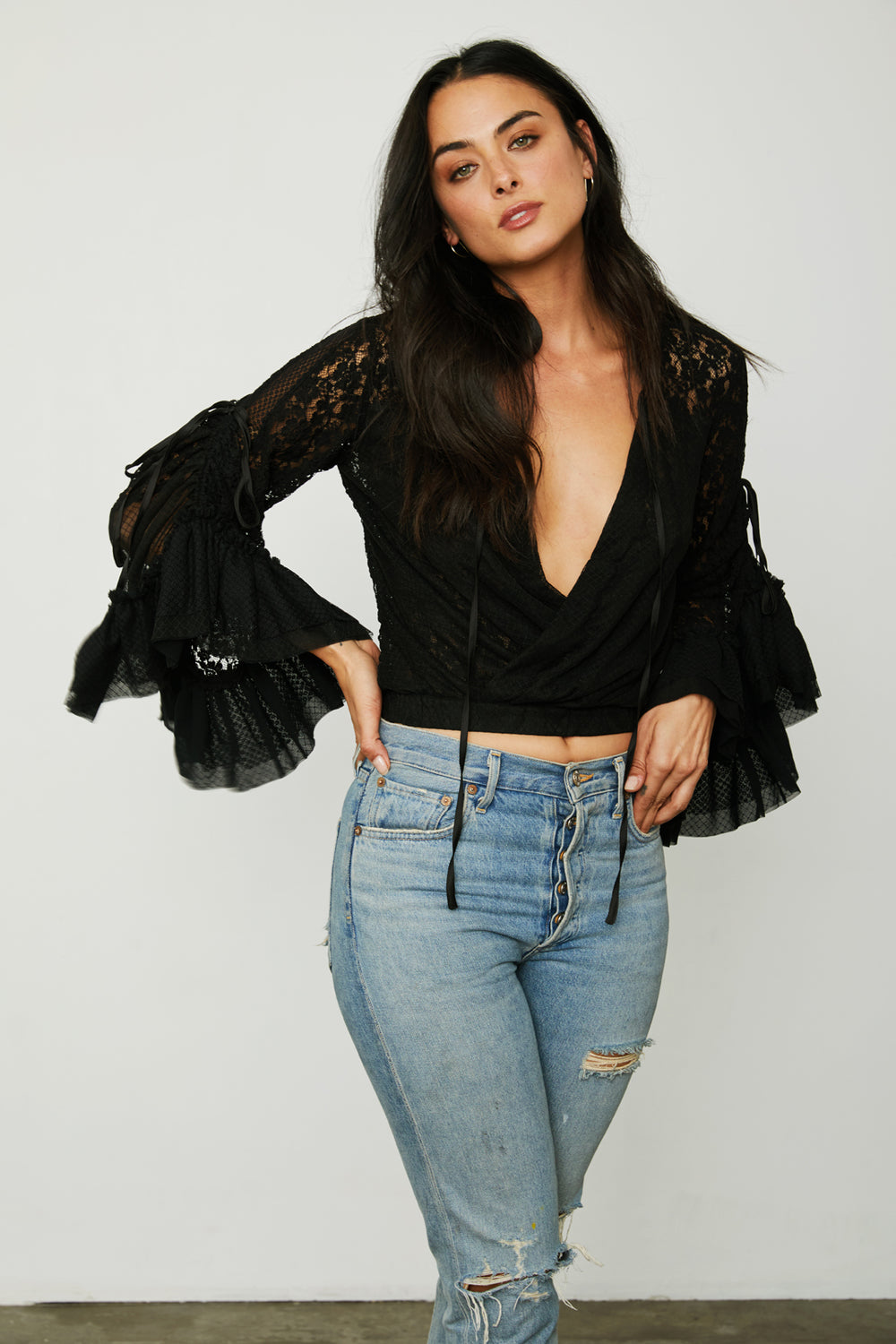 black kimono inspired wrap top lace bell sleeves