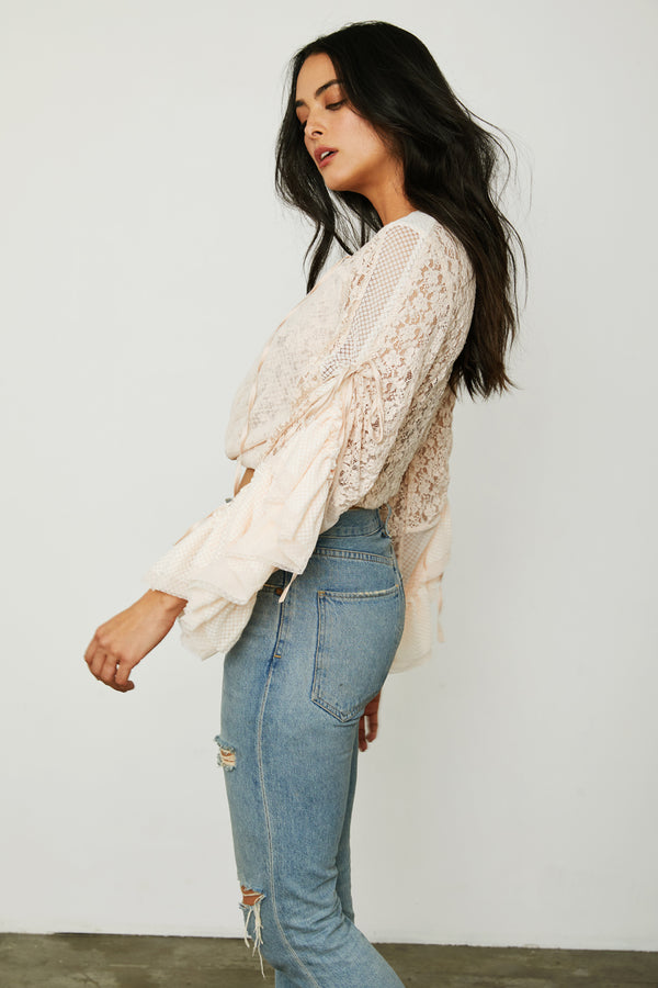 creme kimono inspired wrap top lace bell sleeves