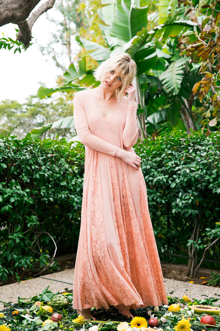 pink vintage inspired long maxi dress long sleeve v neck