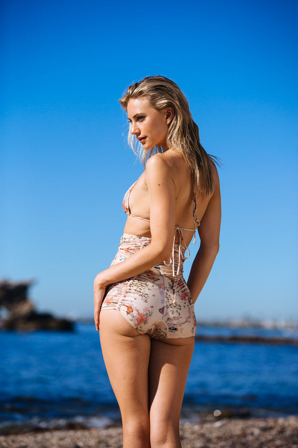 nude floral vintage inspired 1 piece full coverage adjustable eco-friendly & sustainable fabric