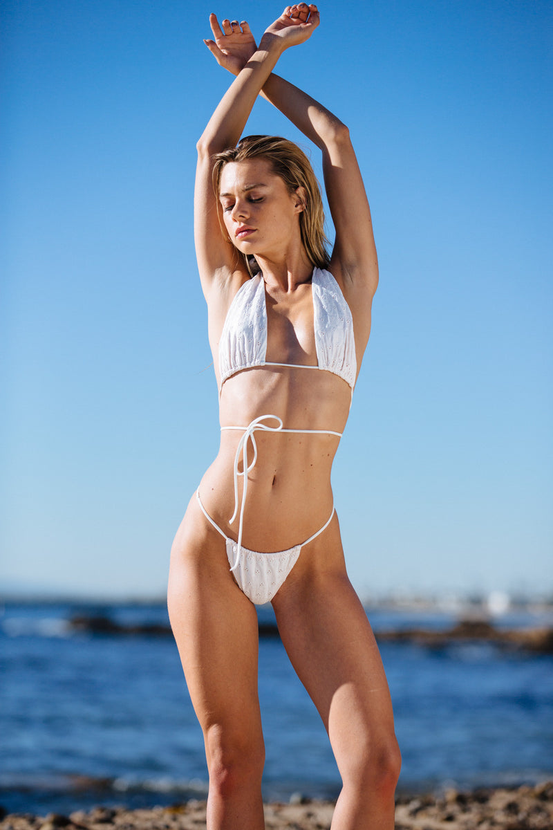 white eyelet vintage inspired cheeky bikini bottom eco-friendly & sustainable fabric