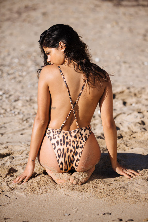 leopard cheetah one piece vintage inspired open back bottom moderate coverage eco-friendly sustainable