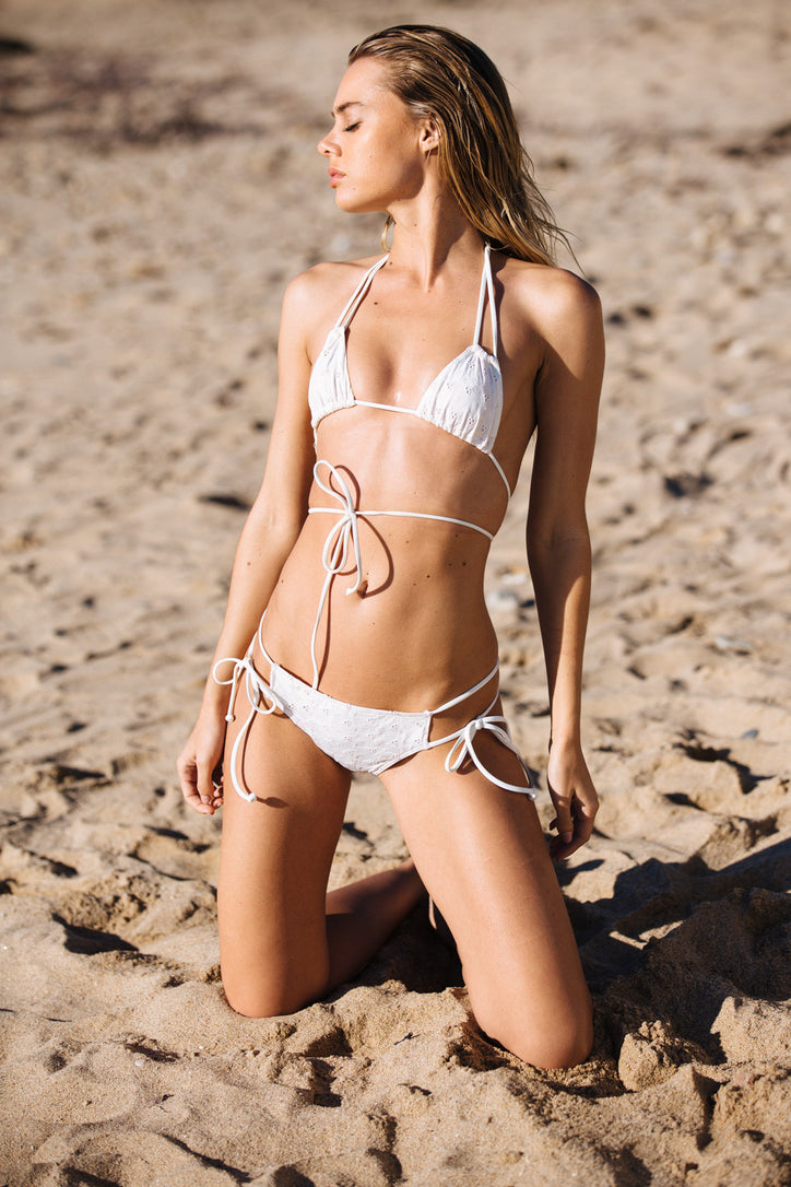 white eyelet vintage inspired cheeky bikini bottom with side ties