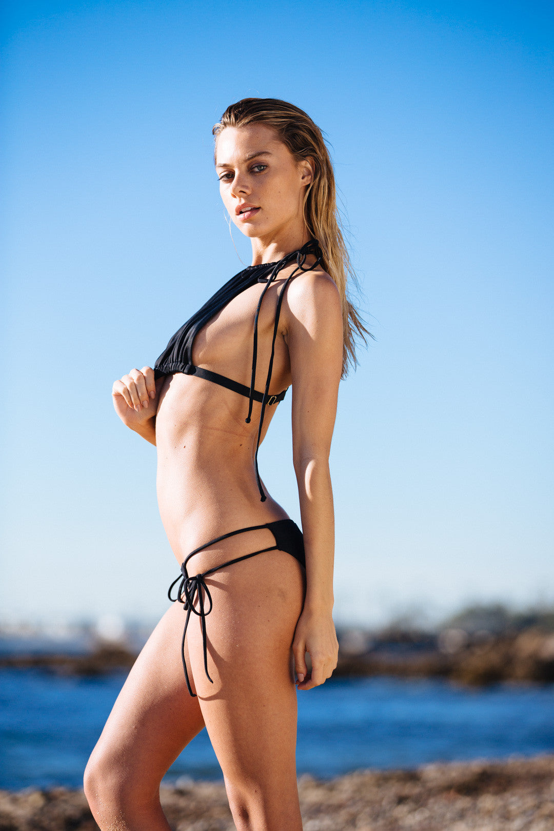 black cheeky bikini bottom with side ties - eco-friendly & sustainable