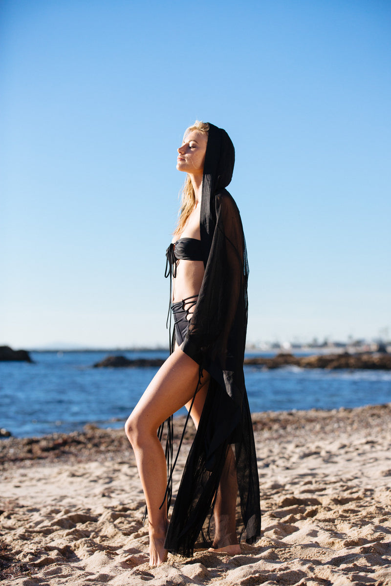 black mesh vintage inspired kimono with hood machine washable