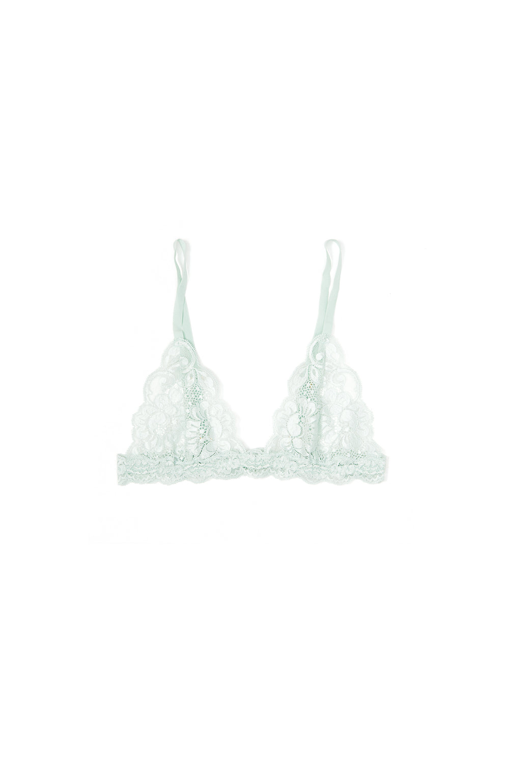 Light baby blue lacy bralette.