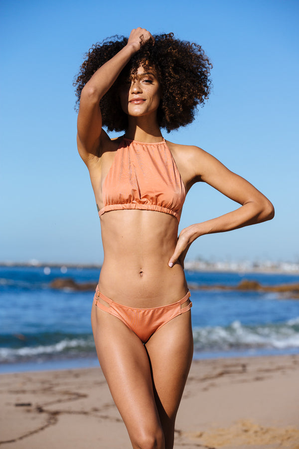 nude peach orange halter bikini top full coverage adjustable eco-friendly & sustainable fabric