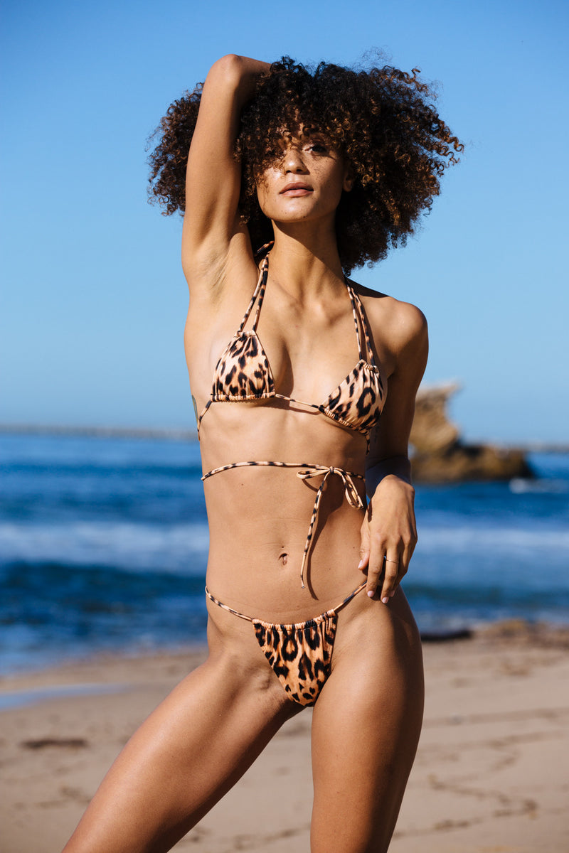 leopard cheetah vintage inspired cheeky bikini bottom eco-friendly & sustainable fabric