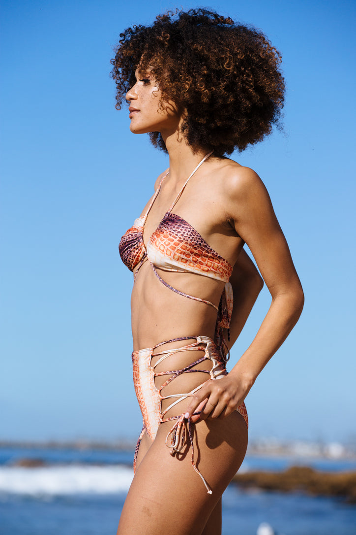 snake skin vintage inspired high waisted bikini bottom moderate coverage eco-friendly & sustainable fabric