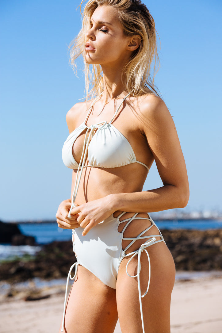 light sea foam green vintage inspired high waisted bikini bottom moderate coverage eco-friendly & sustainable fabric