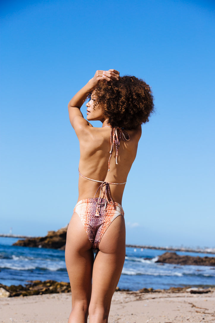 snake print high waisted vintage inspired cheeky bikini bottom - eco-friendly & sustainable