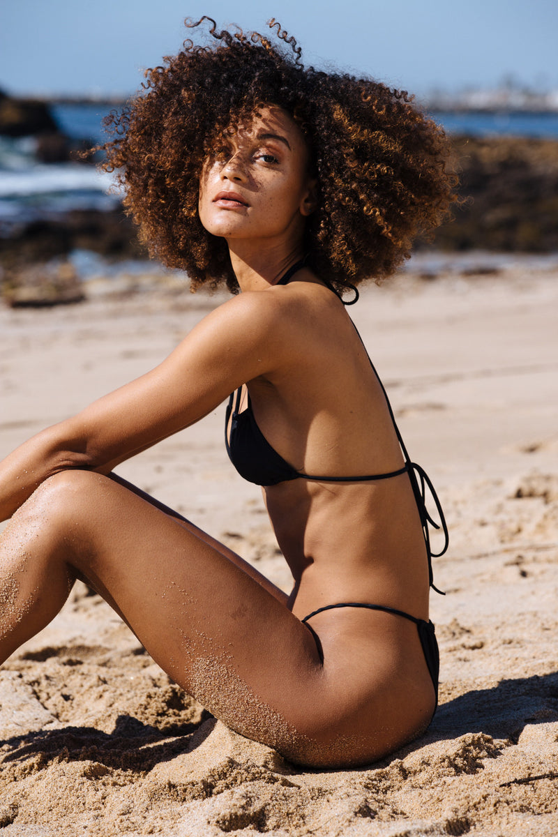 black vintage inspired cheeky bikini bottom eco-friendly & sustainable fabric