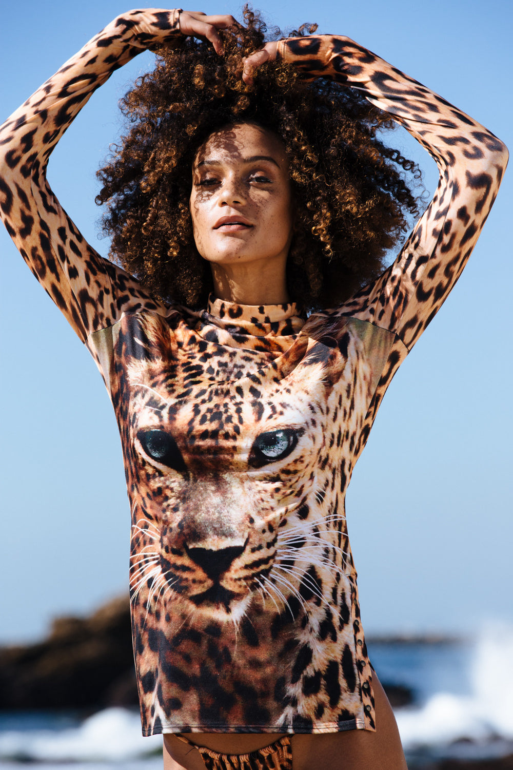 leopard rash guard full coverage eco-friendly & sustainable fabric