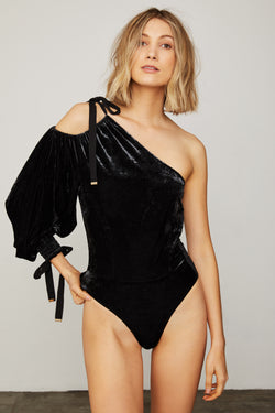 black one shouldered velvet long sleeve bodysuit