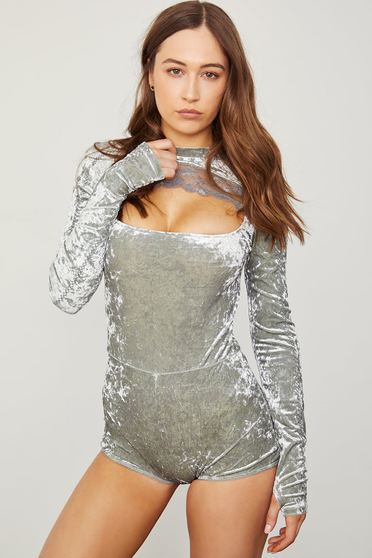 silver stretch keyhole velvet bodysuit long sleeve