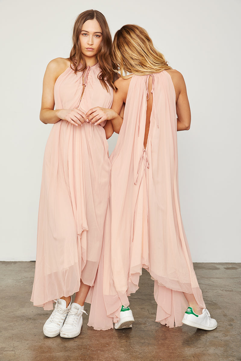 light pink copper reversible maxi dress keyhole high neck machine washable vintage inspired