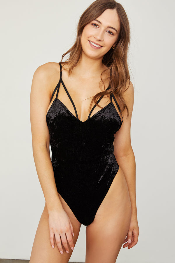 black stretch velvet v neck bodysuit