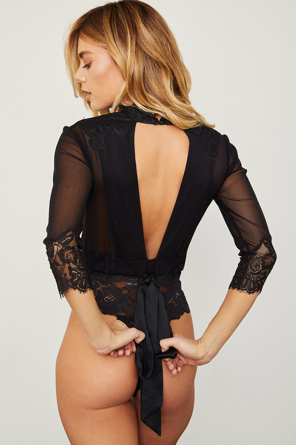 black reversible vintage inspired mesh and lace high neck bodysuit