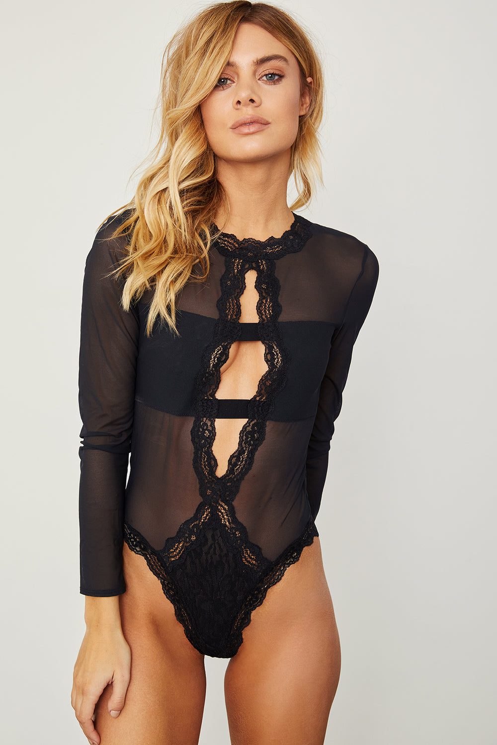 black mesh & lace sheer long-sleeved bodysuit. Sexy & comfortable.