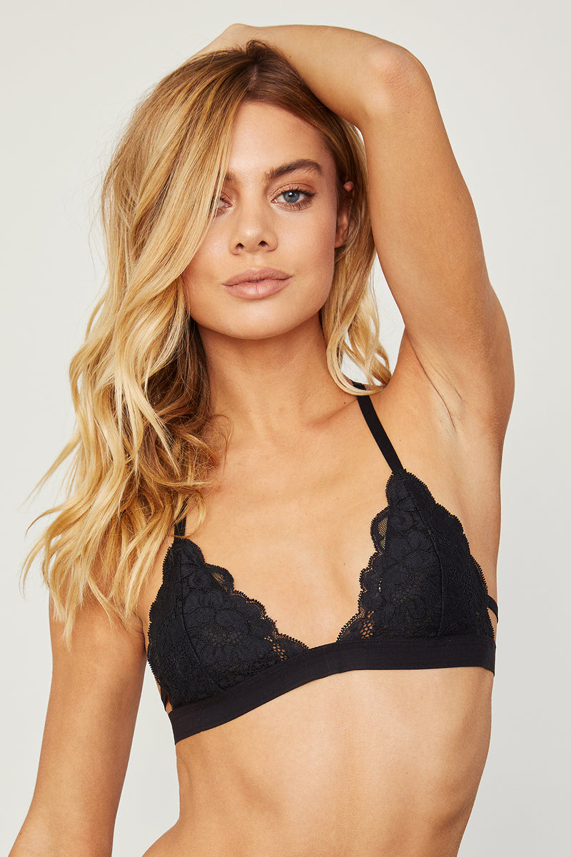 Black lace racer-back bralette with fully-adjustable straps for maximum comfort & support.
