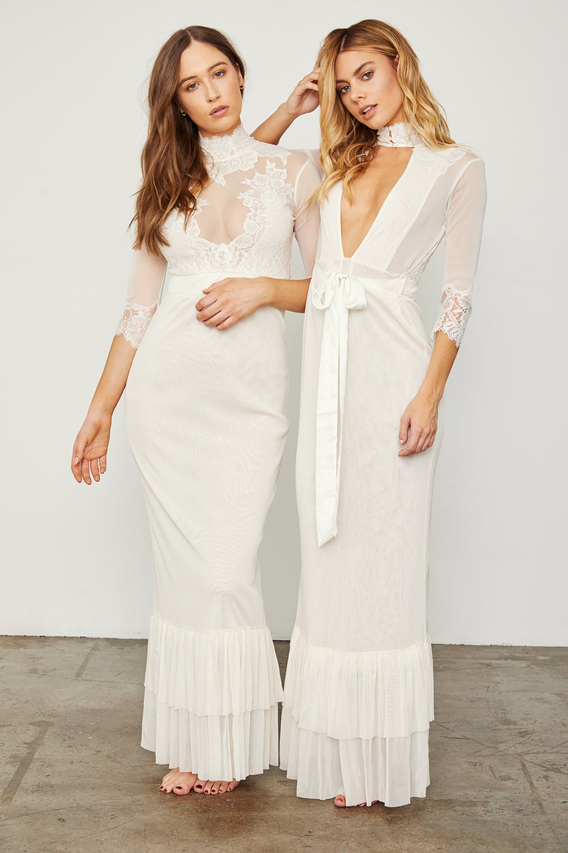 white reversible v neck high neck vintage inspired maxi dress wedding cinched waist tiered bottom