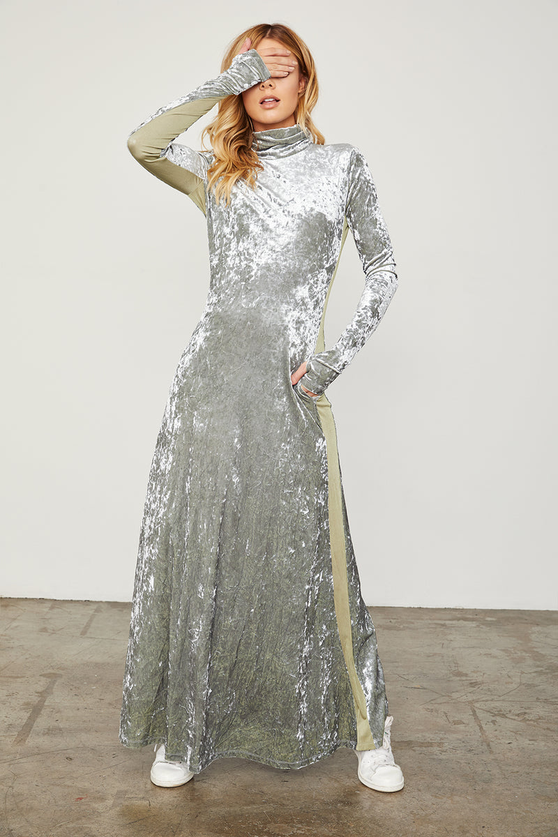 silver velvet long sleeved turtleneck maxi dress machine washable
