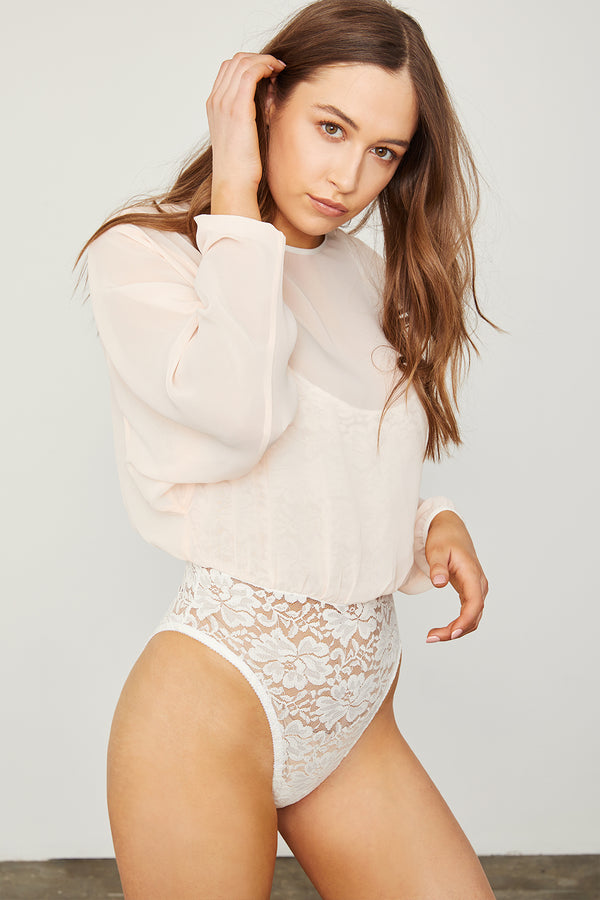 creme chiffon bodysuit blouse with lace underlay machine washable