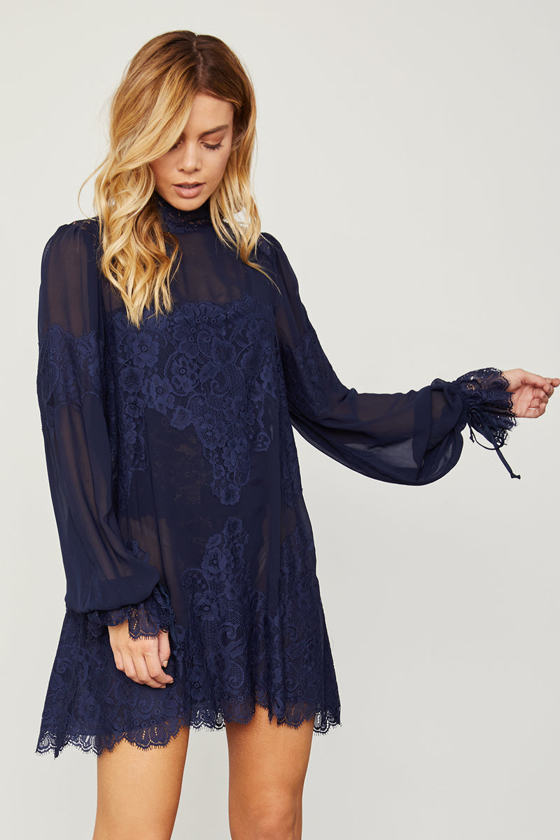 dark blue navy lace and chiffon victorian high neck long sleeve mini dress bell sleeves machine washable