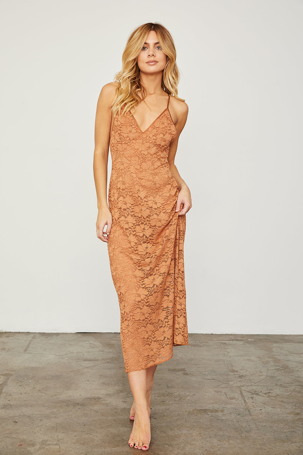 brown maxi lace slip machine washable v neck