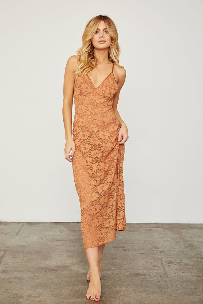 SLIP N2 ME DRESS | BROWN SUGAR