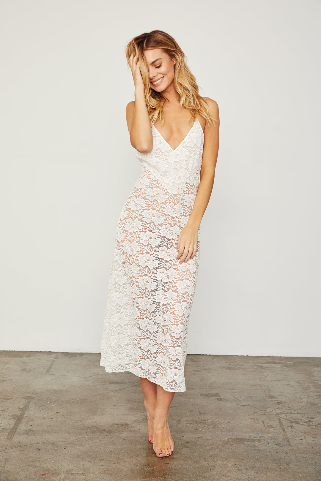 white maxi lace slip machine washable v neck
