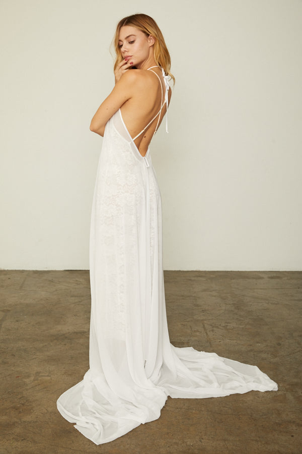 white chiffon halter neck dress long sides machine washable