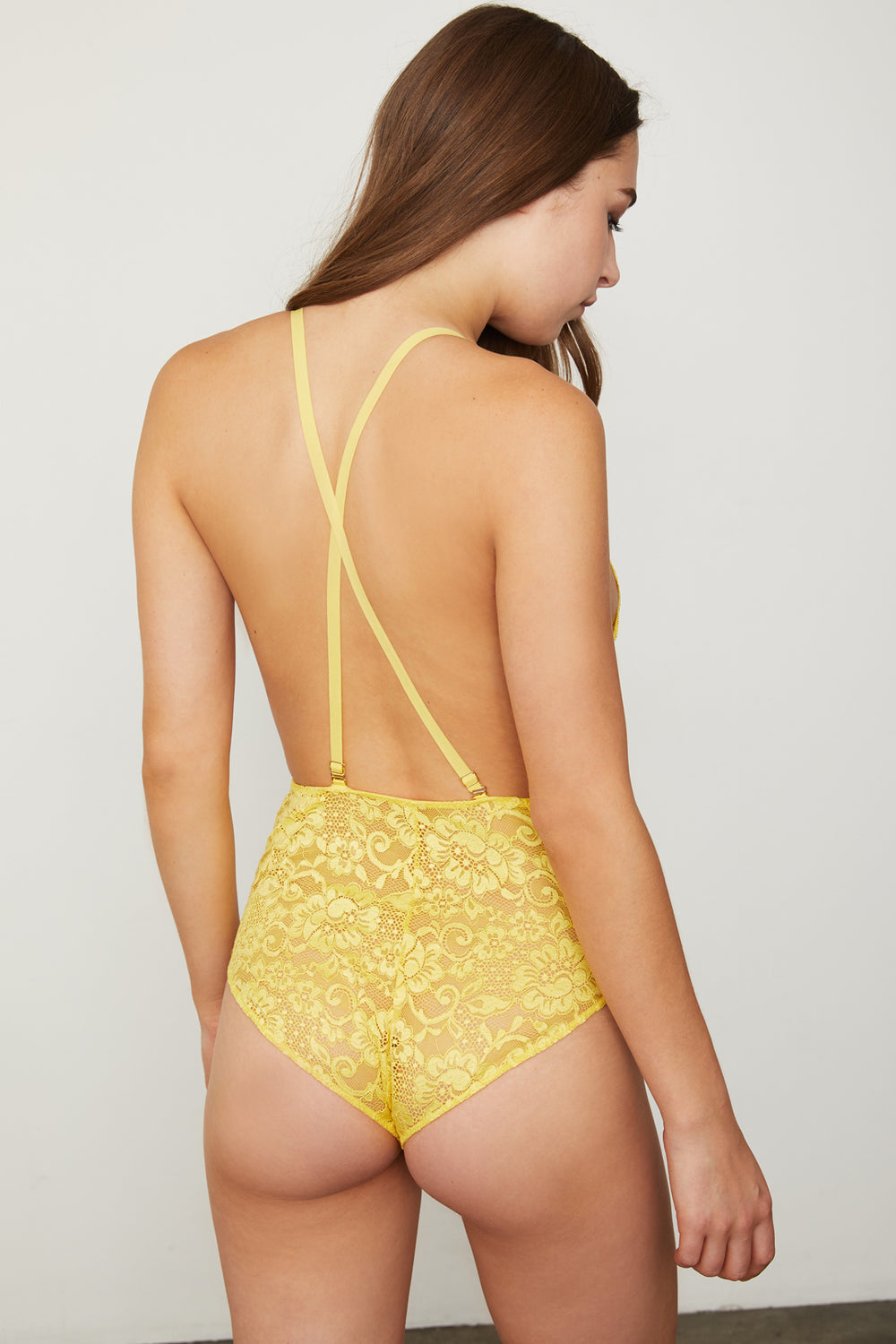 yellow lace deep v-neck bodysuit