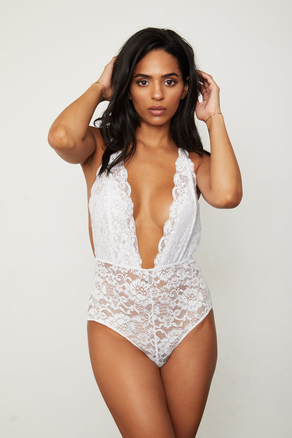 white lace deep v-neck bodysuit machine washable