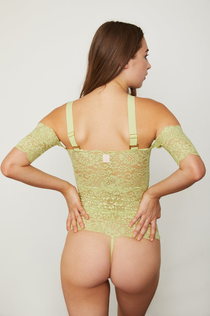Light green lace off-the-shoulder thong-back bodysuit.