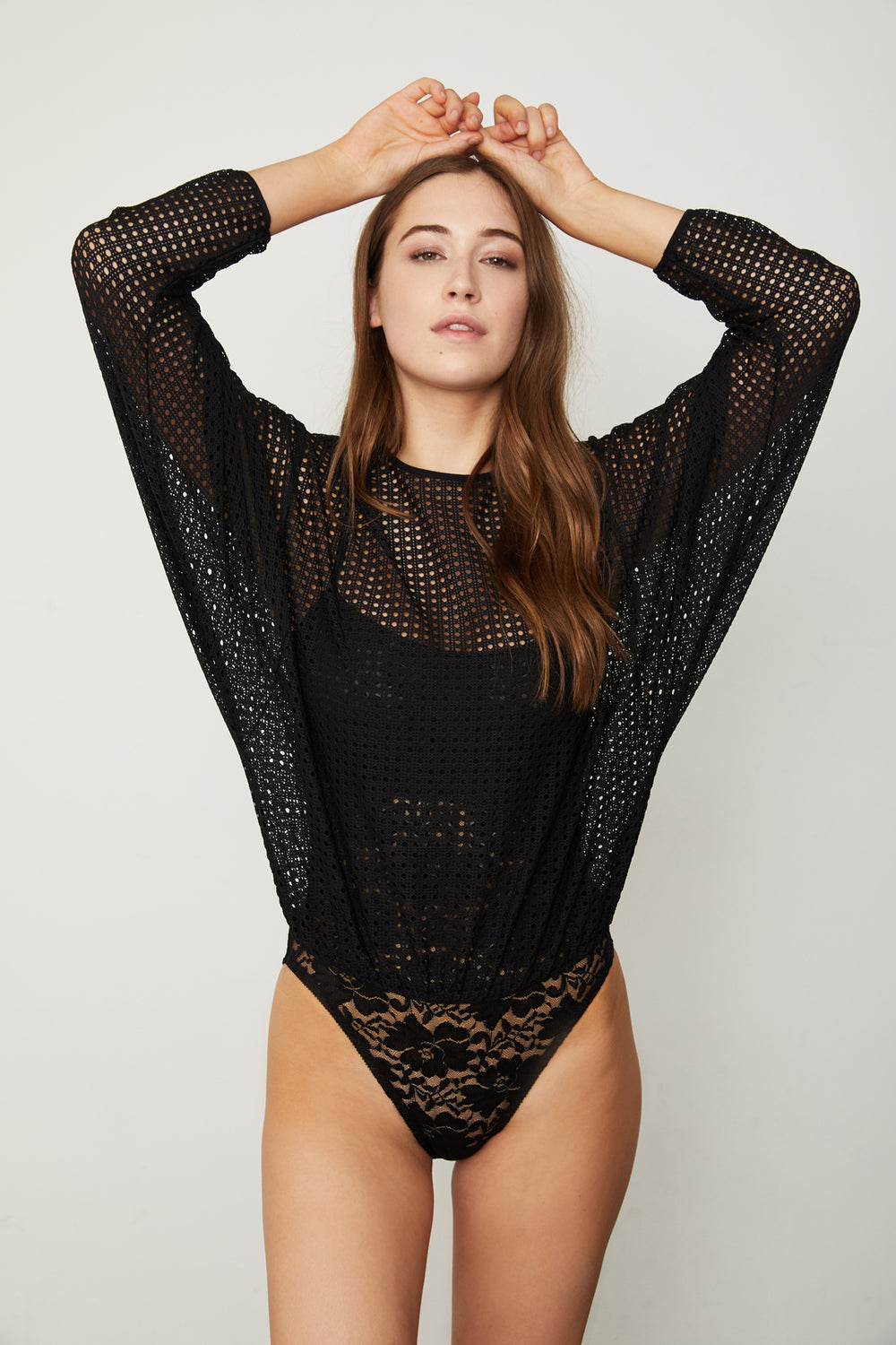 black mesh dotted bodysuit blouse with lace underlay machine washable
