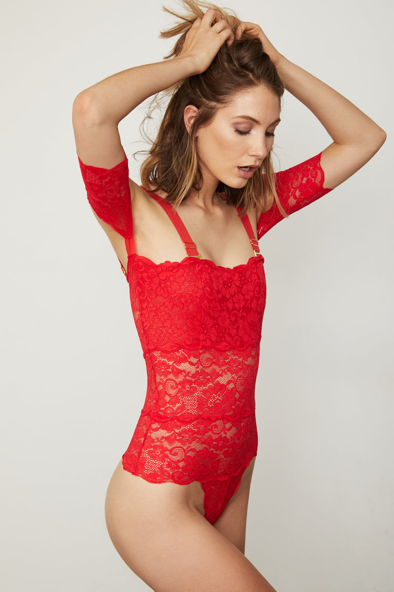 Red lace off-the-shoulder thong-back bodysuit.