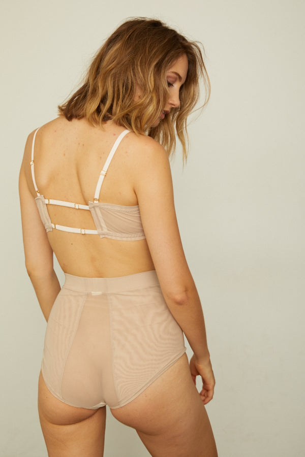 nude high-waisted mesh panty with an elastic waist band machine washable