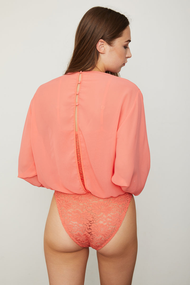 coral peach chiffon bodysuit blouse with lace underlay machine washable