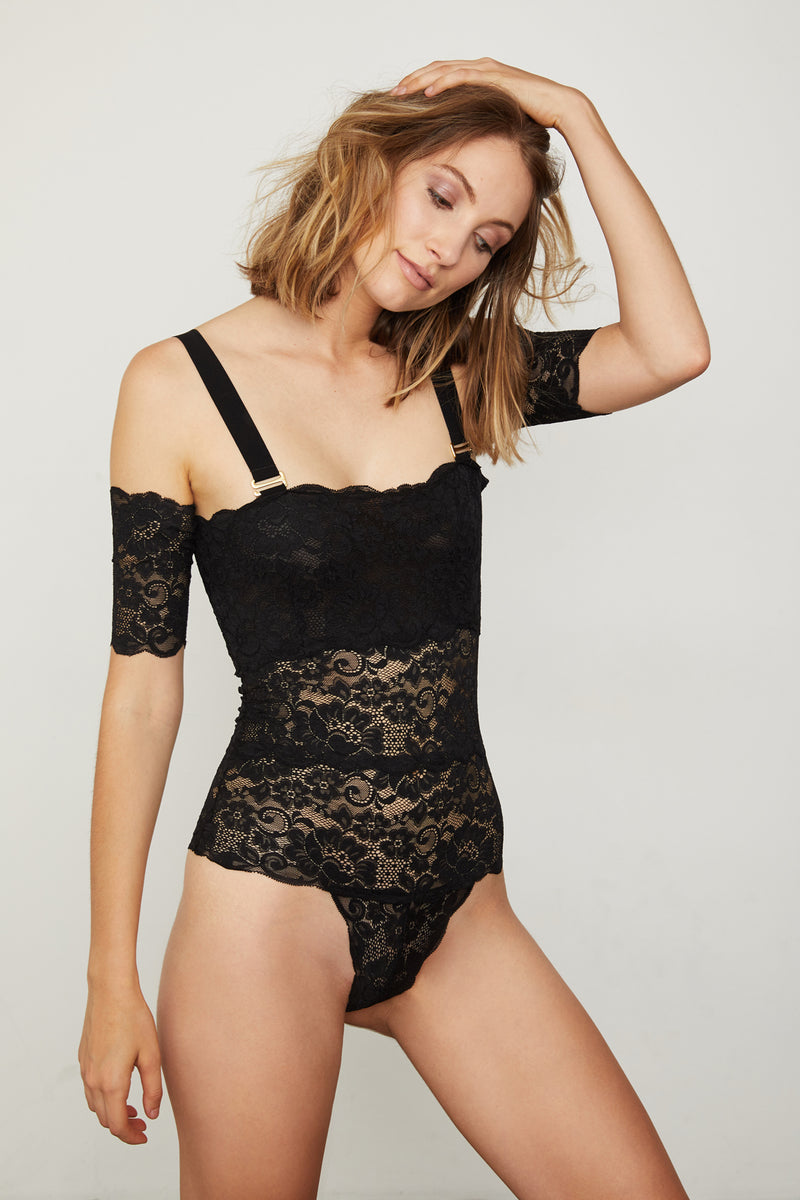 Black lace off-the-shoulder thong-back bodysuit.