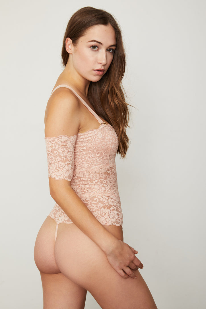 Rose pink lace off-the-shoulder thong-back bodysuit.