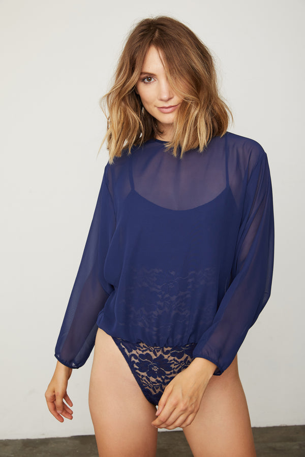 dark blue navy chiffon bodysuit blouse with lace underlay machine washable