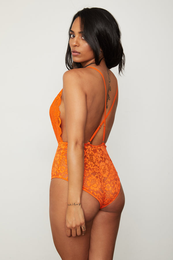 orange lace deep v-neck bodysuit