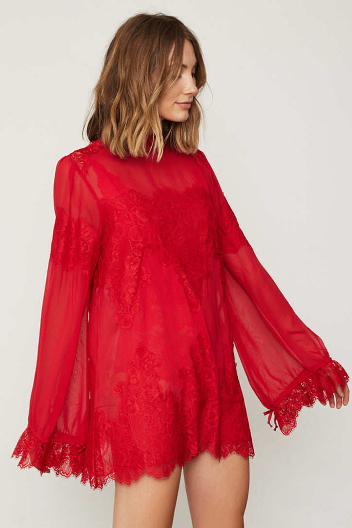 red lace and chiffon victorian high neck long sleeve mini dress bell sleeves machine washable